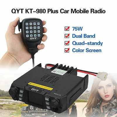 QYT KT-980 Plus Dual Band Quad-standy VHF UHF Color Screen Output Mobile Radio