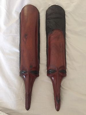 Wooden Hand Carved Matching Masks (man & woman) African Tribal (51cm)