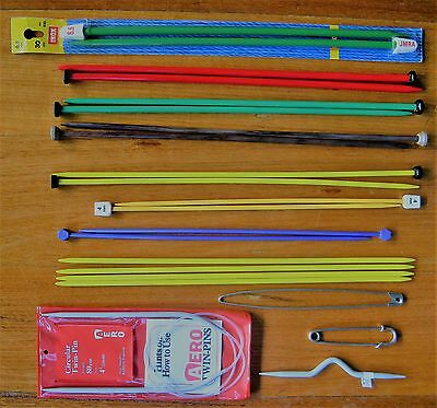 11 prs/sets VINTAGE KNITTING NEEDLES & Pins, Cable, Crochet Hook, one  MIP Inox