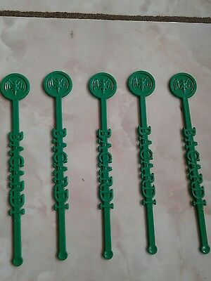 Puerto Rico Ron Bacardi Rum  Drink Stirrer vintage hard to find lot of 5 New!