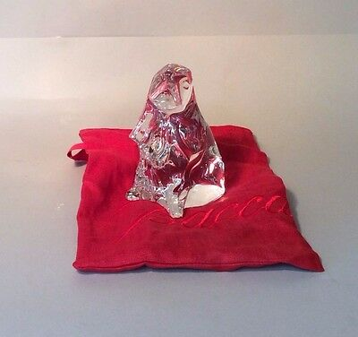 Baccarat Crystal Dog Paperweight Figurine Sculpture **new** Rare Vintage