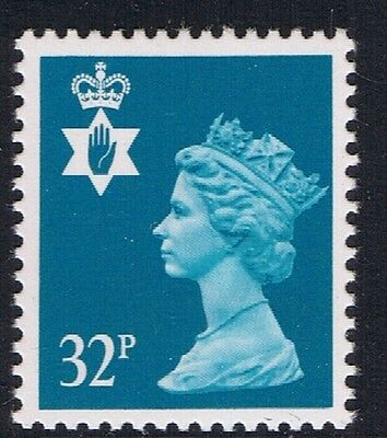 GB QEII Northern Ireland SG NI65 32p Greenish Blue PP Regional Stamp MNH
