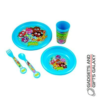 OFFICIAL MOSHI MONSTERS 5 PC DINNER SET PLATE Kids kitchen accessory