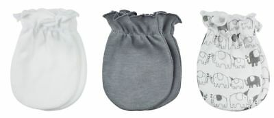 Playette 3 Pack Newborn Mittens (Party Elephant Grey and White)
