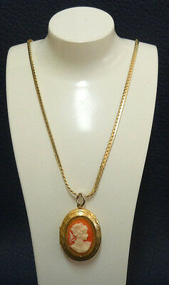 Vintage Cameo Pendant Free Box with Chain Gold Plated