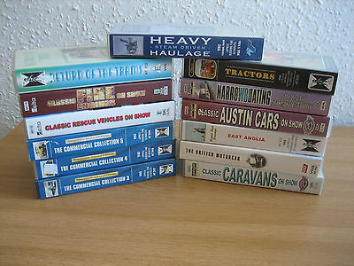 13 x VHS Classic Transport  Tapes - Tractor / Train / Car / Boat - Used