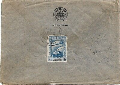 Portuguese India, Airmail -- Single 4.5 T on cover to Hong Kong