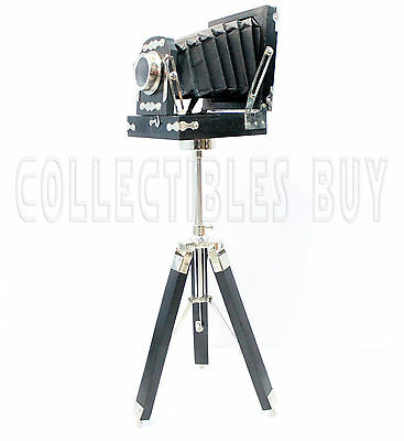Vintage Old Folding Camera Replica Wooden Tripod Nautical Old Movie Photography
