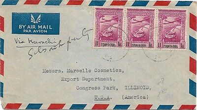 Portuguese India, Airmail - cover sent with 3 x 11 Tangas stamp to USA