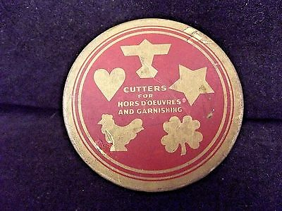 Miniature Cutters for Hors D'Oeuvres by Dixon Specialties RED KITCHEN Vtg Set