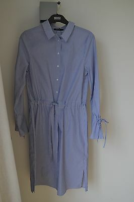NEW MARKS AND SPENCER limited edition BLUE / WHITE STRIPE SHIRT DRESS SIZE 6 £45