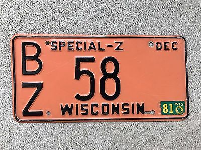1981 Wisconsin Special Z License Plate #58