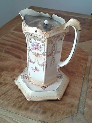 Edwardian F & Sons 'Milton' Burslem Metal Lidded Jug and Stand
