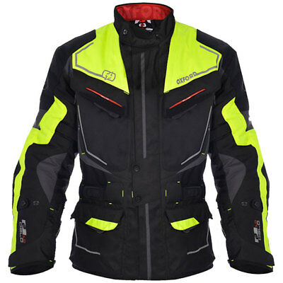 Oxford Motorbike Motorcycle Touring Waterproof Oslo Textile Jacket - Grey Fluo