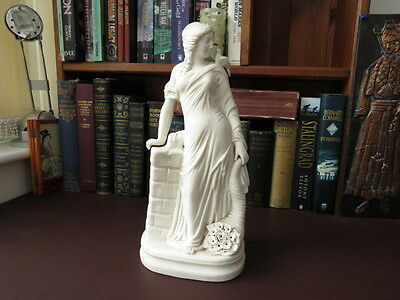 19th c Parian Ware Figurine - Flora Roman Goddess Of Flowers/Spring - Victoriana