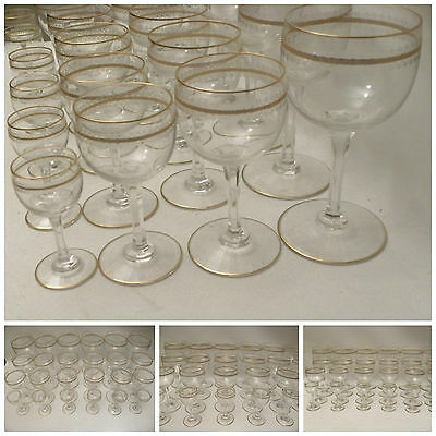 ANTIQUE GOBLET GLASSES GILDED CUT CRYSTAL 6 Water 6 WINE 6 COGNAC 6 ROSOLIO