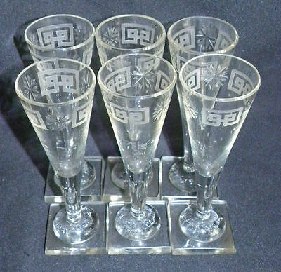VINTAGE 19th 6 CUT Crystal Champagne Flute Glassware CALICI CRISTALLO MOLATO 800