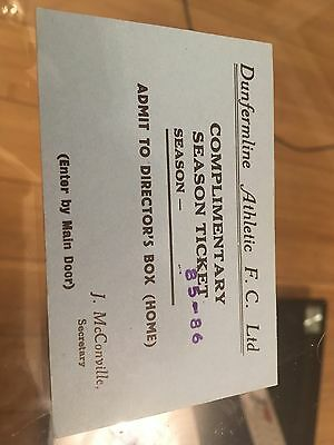 Dunfermline Athletic Complimentary Season Ticket 1985-86