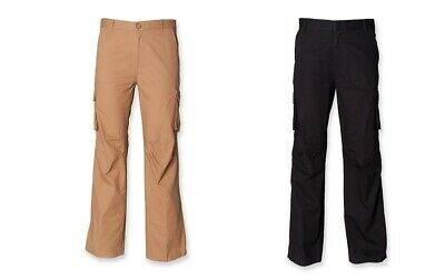 New Gents Mens Cotton Cargo Trousers in Black and Sand RRP 19.99 SFM65