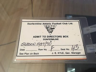 Dunfermline Athletic Director Box Season Ticket And Half Time Pass 1989-90