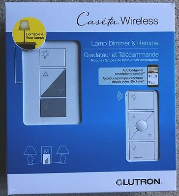 New Lutron Caseta Wireless White Plug-In Lamp Dimmer With Pico Remote