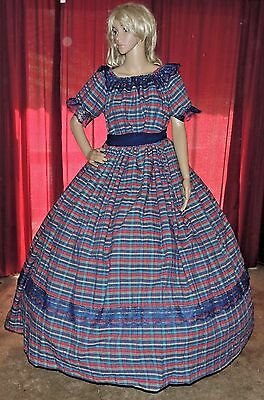 CIVIL WAR VICTORIAN SASS ANTEBELLUM HALLOWEEN Navy Blue Plaid Costume Dress Gown