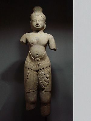 KHMER SANDSTONE STANDING MALE DEITY. BAPHUON STYLE. CAMBODIA 11th C.