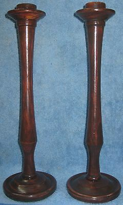 Pair of Antique Turned Wooden Candlesticks Circa 1890- Ash- Excellent Condition