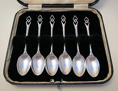 ART DECO Case Solid Sterling Silver English Tea Coffee Demitasse Espresso Spoons