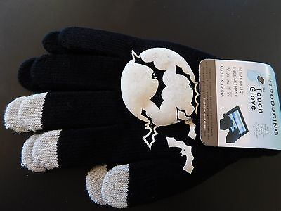 "1x Pair Full Finger ""WHITE BATS MOON"" Touch Wool Gloves Fashion (B7)BAD BOYZ SA"
