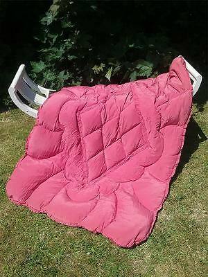 Vtg Antique Art Deco Styled Pink Single Feather Eiderdown Quilt Plump & Squishy!
