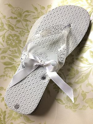 Ladies White Flip Flops With Sparkle Size M *wedding Holiday* By zohula