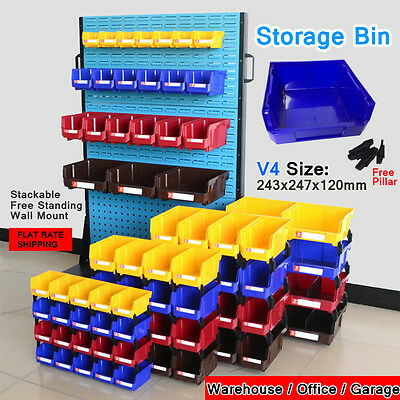 V4 Free-Standing Stackable Storage Bin Organiser box Tool Parts Garage Workshop
