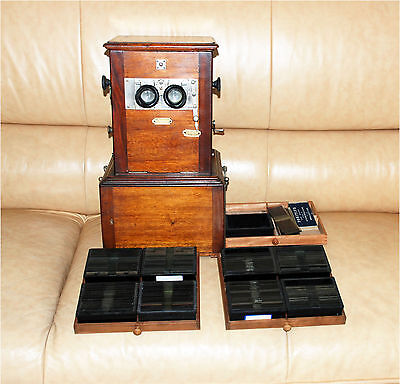 TAXIPHOTE ANTIQUE STEREOSCOPE STEREOVIEWER 175+ Glass slides views positives