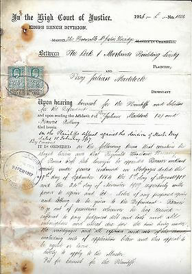 1916 Document on a Legal Dispute with 2 Stamps