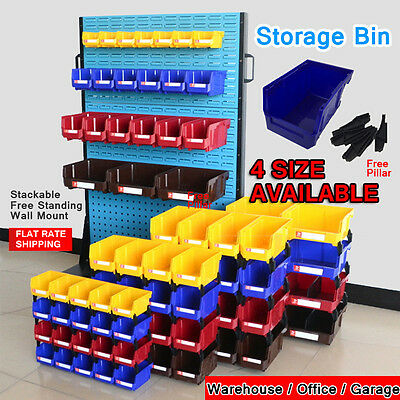 NEW 4 Size Free-Standing Stackable Storage Bin Organiser box Tool Parts Workshop