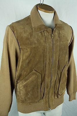 Vintage 60's Tan Leather Suede Cardigan Sweater Jacket Mens S Rockabilly Hipster