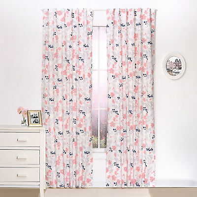 Coral and Navy Floral Blackout Window Drapery Panels - Two 84 x 42 Inch Panels
