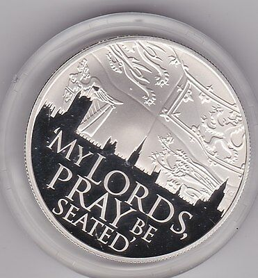 Alderney 2012 Silver Proof £5 Crown In A Capsule My Lords Pray Be Seated