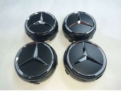Genuine Mercedes-Benz AMG Gloss Black Alloy Wheel Centre Caps NEW