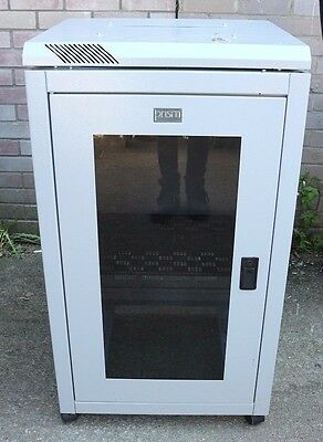12U Grey Server Cabinet On Wheels With Key And Removable Side And Back Panels