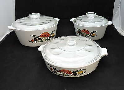 3 Round Pyrex Merry Mushroom Casserole Dishes with Original Lids-Varying Sizes