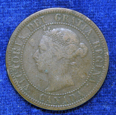 1888 Canada 1 cent coin, large penny Queen Victoria