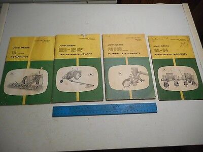 Vtg John Deere Operators Manuals (4) Mowers Planter Fertilizer Att. Rotary Hoe
