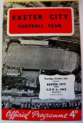 Exeter City v C.A.R. La Paz (Bolivia) 1961/62 Friendly Match programme.