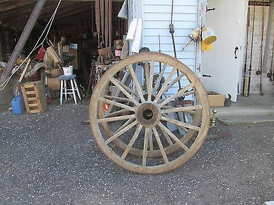 "Pair of Large 48"" Antique Wagon Wheels"