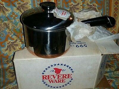 Vintage NOS Revere Ware 2  Quart Covered   Sauce pan No. 599  *NEW*  Usa