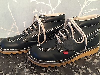 Mens KICKERS Navy Blue Leather Ankle Boots Size 41 8 Nearly New