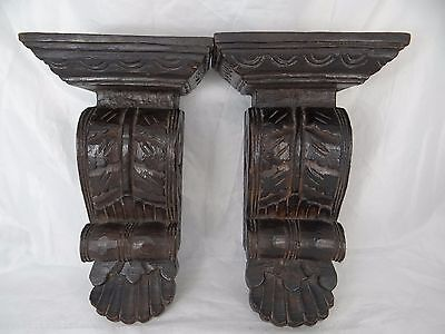 Pair of LARGE Antique French Wood Corbels/Brackets Carved Architectural