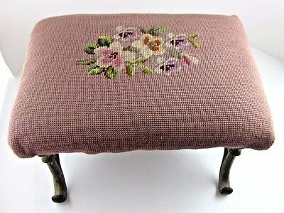 Foot Stool Antique Cast Iron Legs Faded Floral Needle Point Top 14x10x6.75